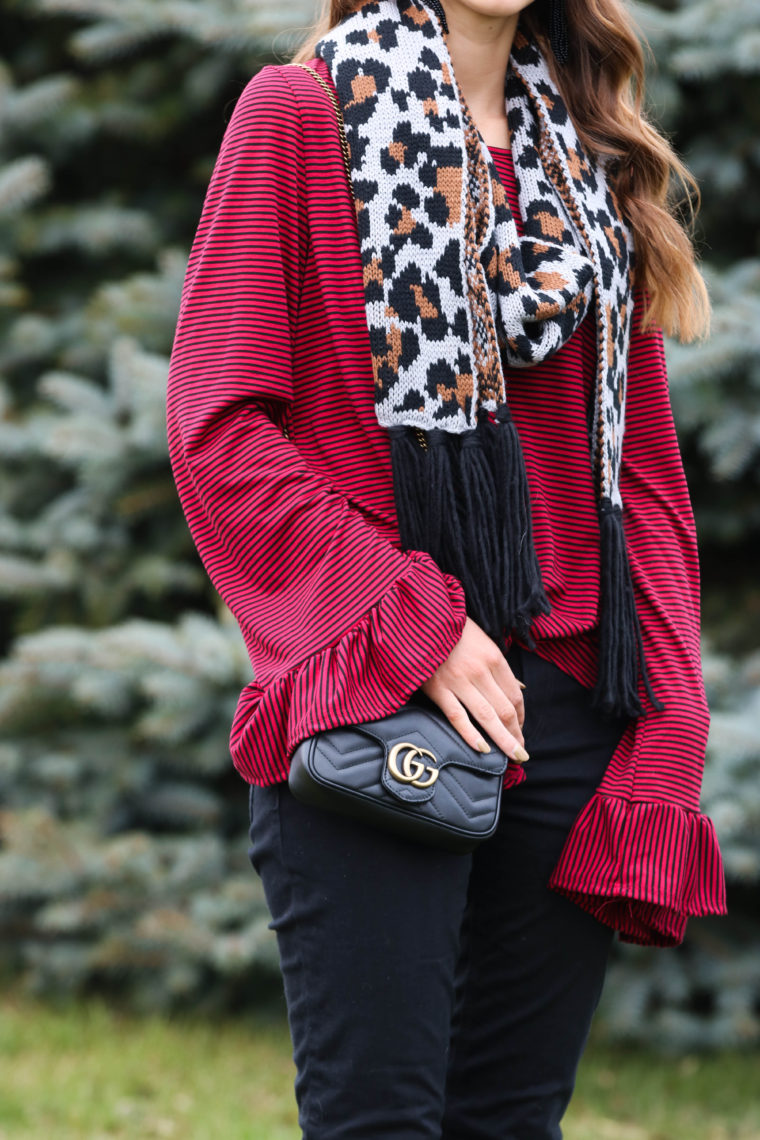 for the love of glitter, Gucci bag, bell sleeve top, leopard scarf, holiday style