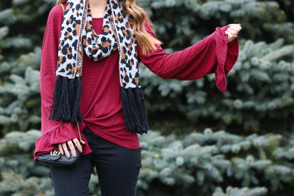 for the love of glitter, bell sleeve top, stripe top, leopard scarf. holiday style