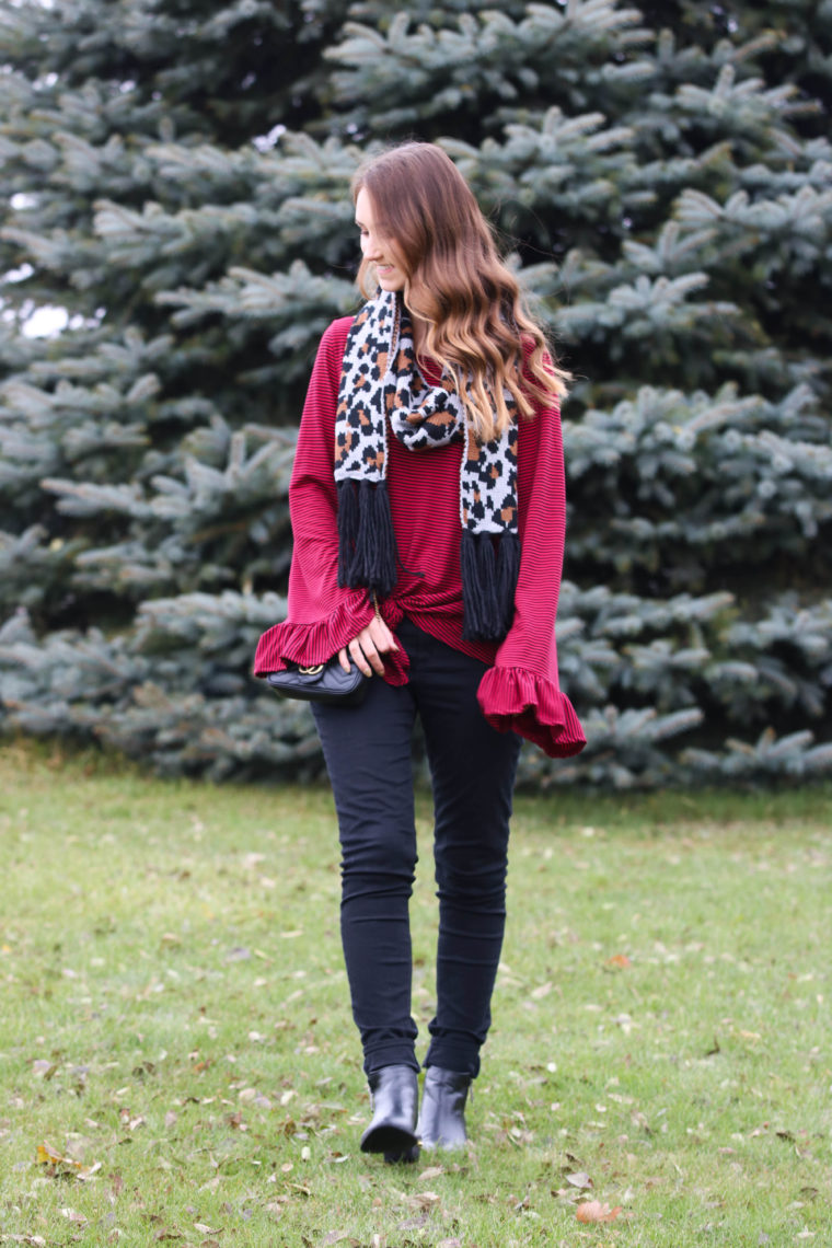 for the love of glitter, leopard scarf, stripe bell sleeve top, holiday style