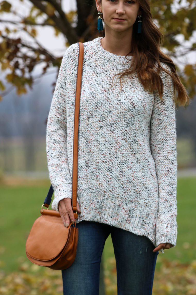 for the love of glitter, pullover sweater, fall style, saddle bag
