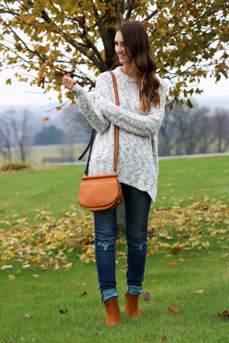 for the love of glitter, pullover sweater, saddle bag, brown booties