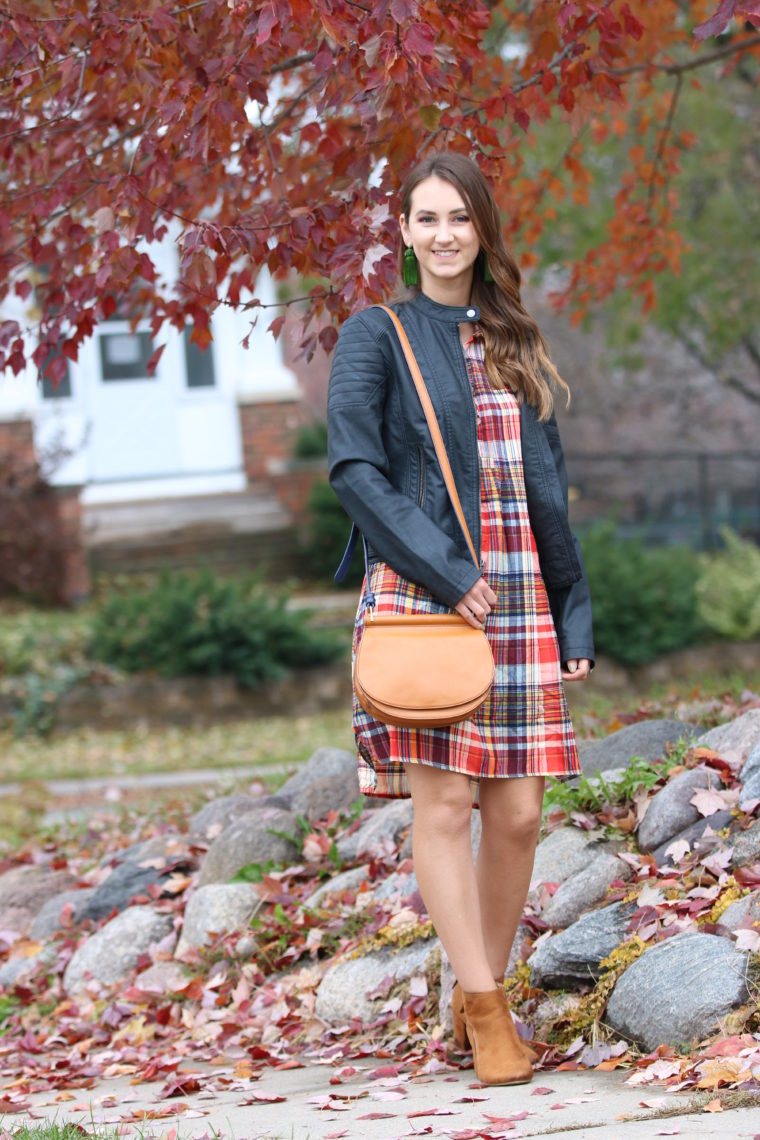 for the love of glitter, plaid dress, black moto jacket, Thanksgiving outfit, saddle bag