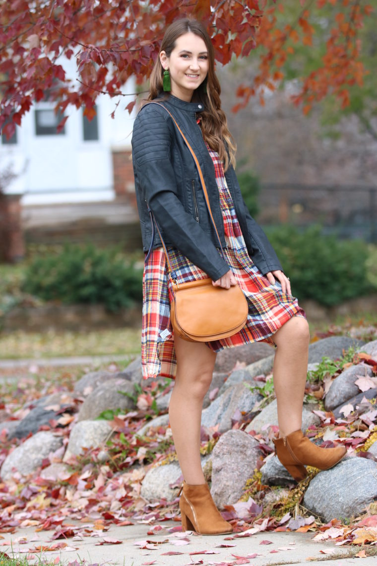 for the love of glitter. orange plaid dress, Thanksgiving outfit, Vera Bradley saddle bag, fall style