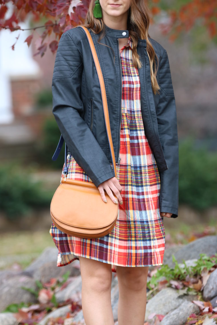 for the love of glitter, Vera Bradley saddle bag, plaid dress, Thanksgiving outfit, fall style