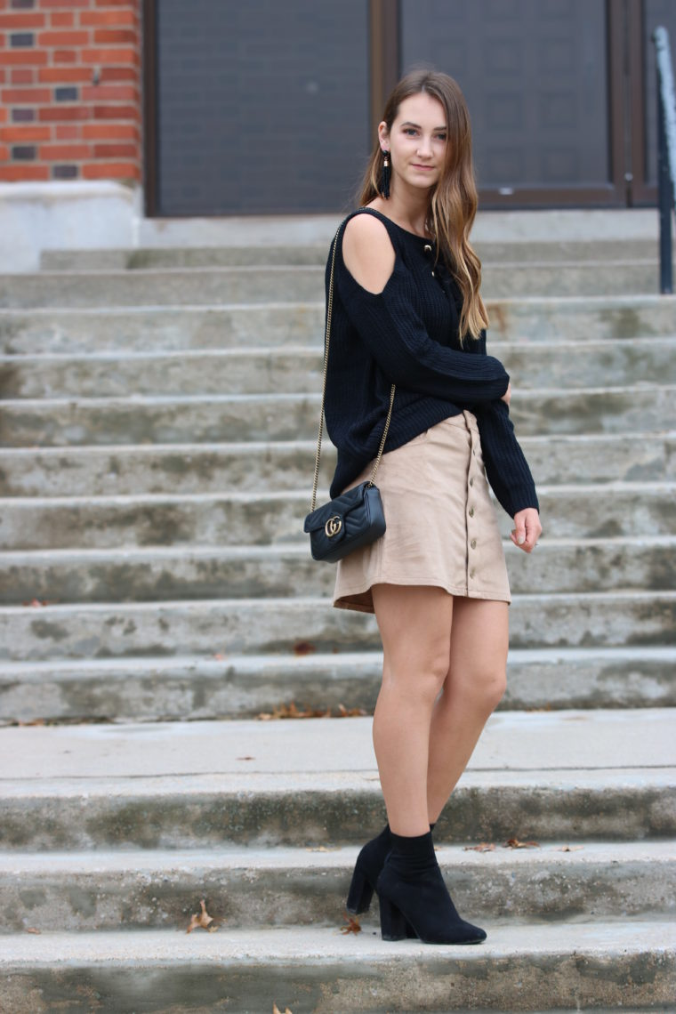 for the love of glitter, black cold shoulder sweater, fall style, suede skirt