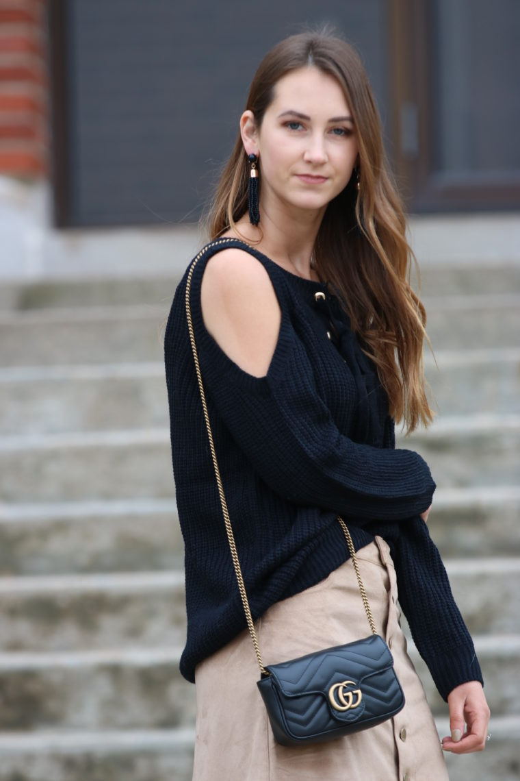 for the love of glitter, black Gucci bag, cold shoulder sweater, fall style