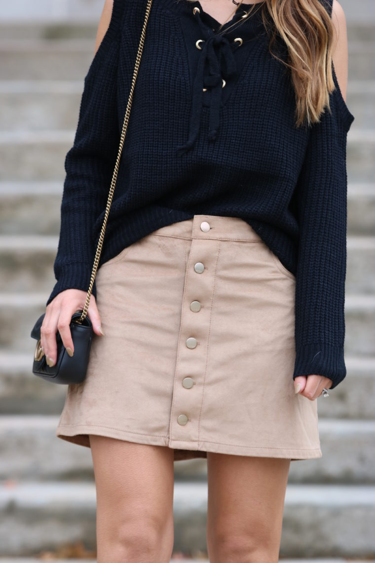 for the love of glitter, tan suede skirt, cold shoulder sweater, fall style