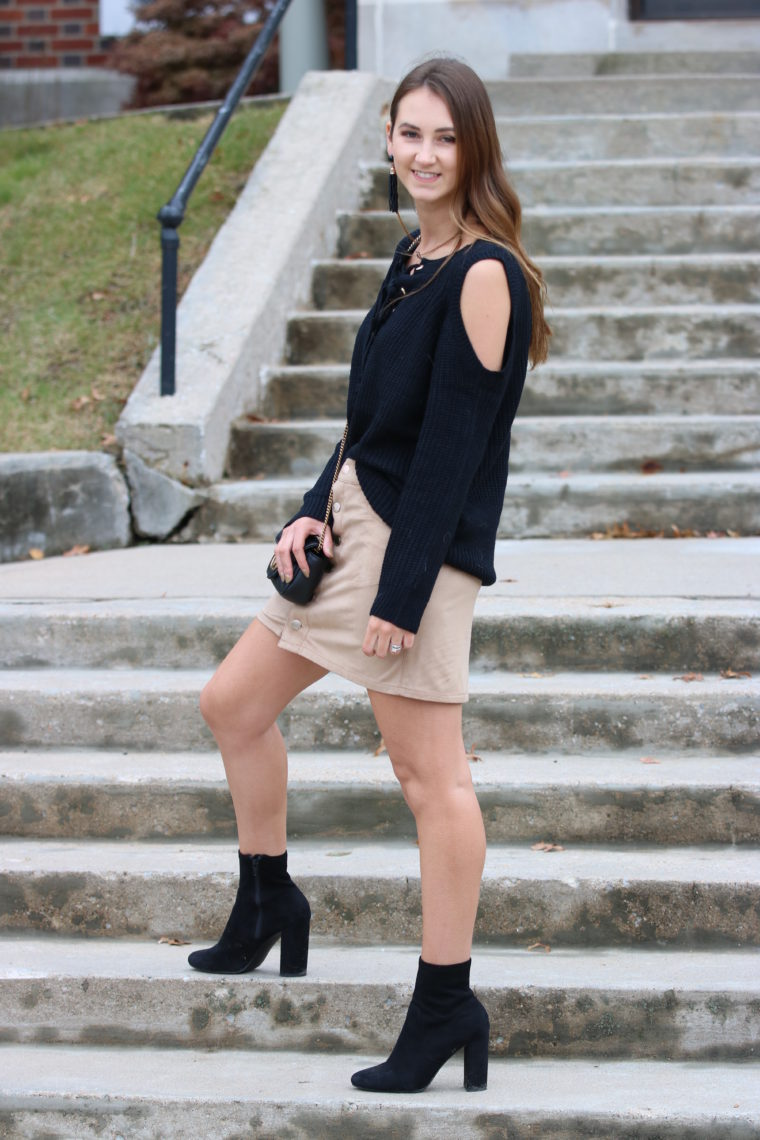 for the love of glitter, black sock booties, tan suede skirt, fall style