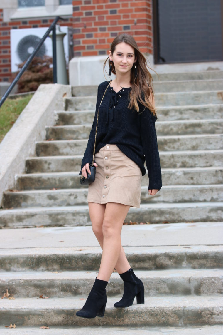for the love of glitter, lace up sweater, cold shoulder top, fall style, suede skirt