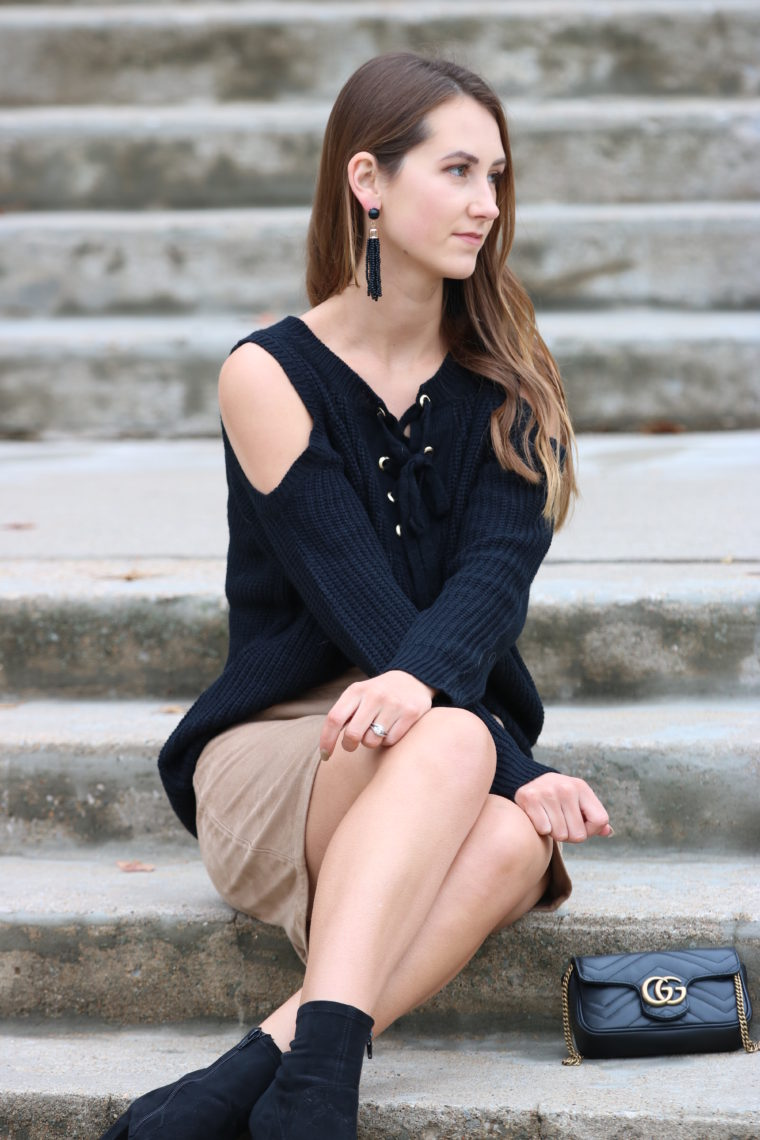 for the love of glitter, lace up sweater, cold shoulder sweater, suede skirt, fall style