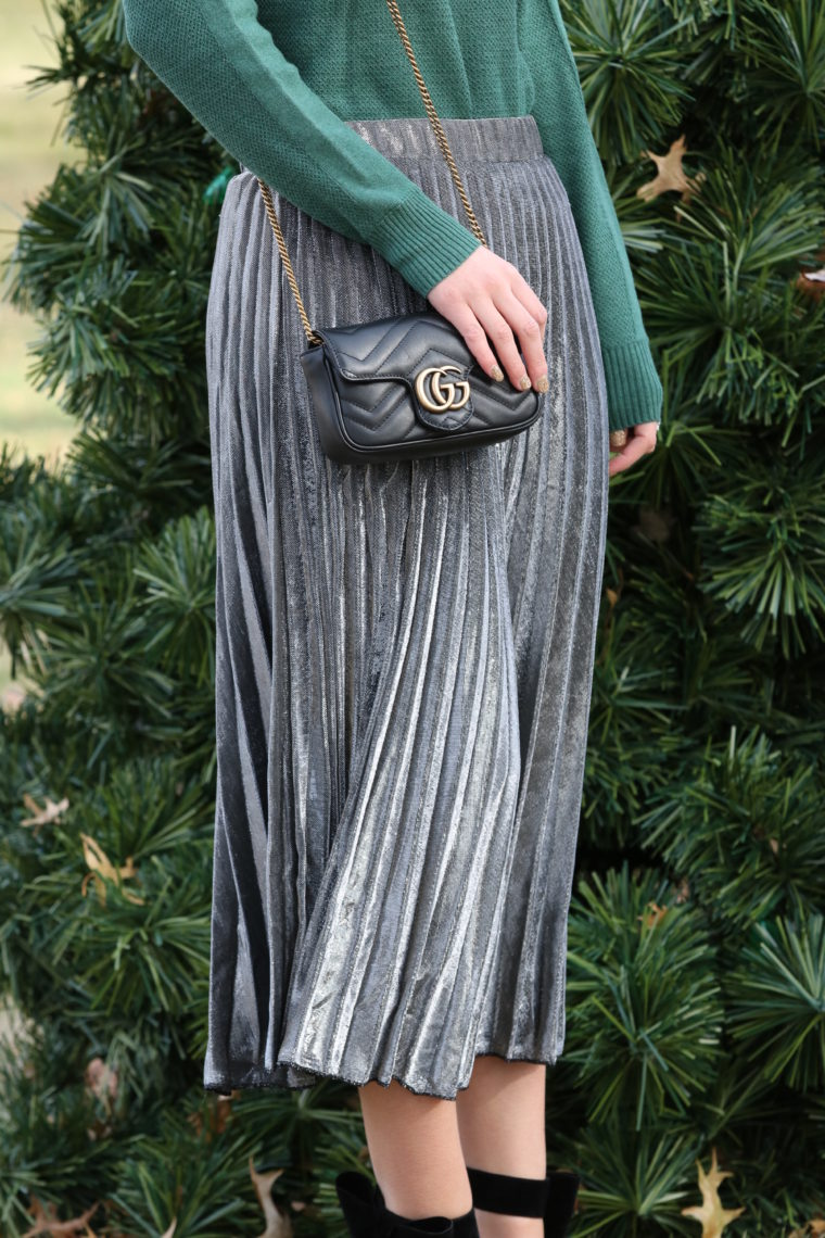 for the love of glitter, black Gucci bag, silver pleated skirt
