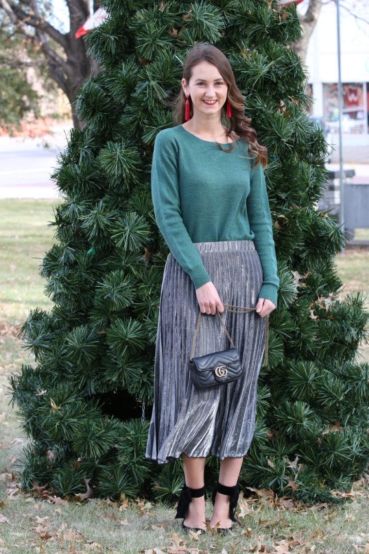 for the love of glitter, metallic skirt, pleated skirt, bow heels. holiday style