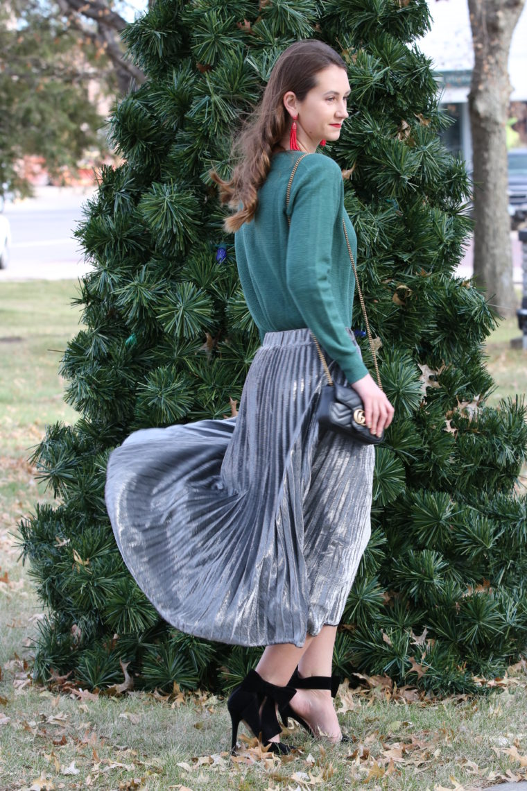 for the love of glitter, silver pleated skirt, holiday style