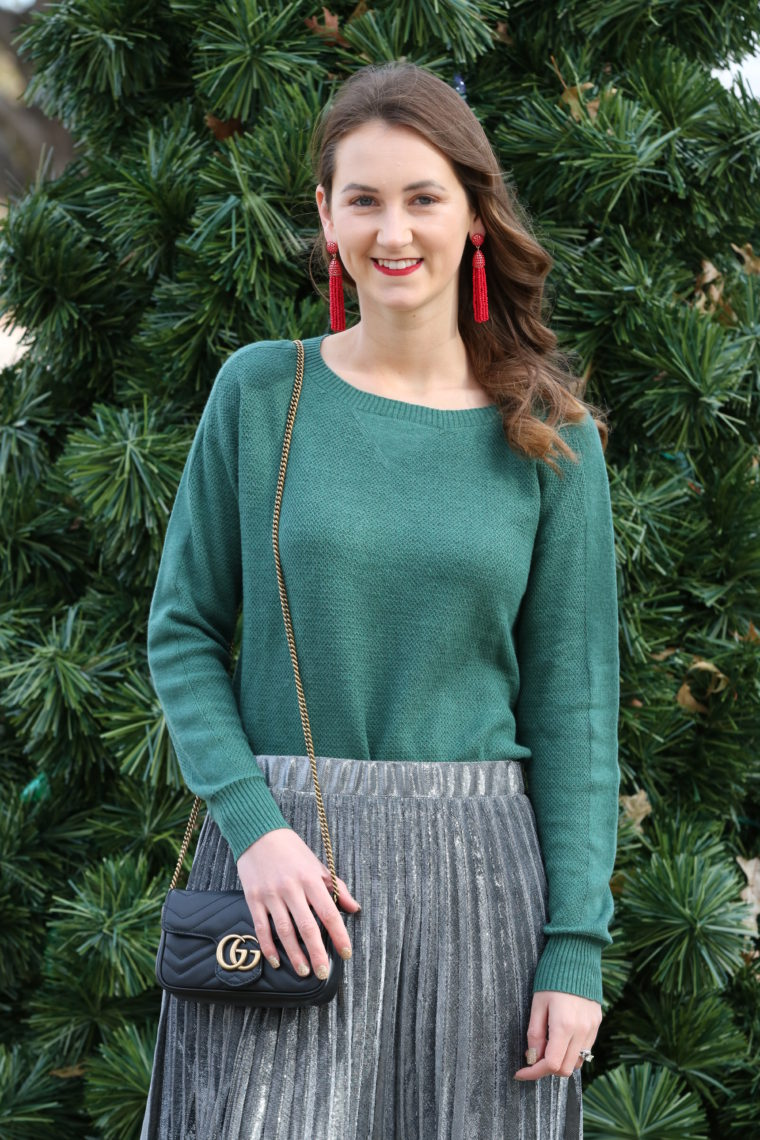 for the love of glitter, green sweater, sliver metallic skirt, Gucci bag, holiday style