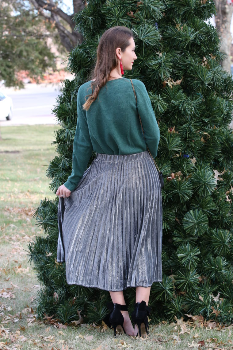 for the love of glitter, silver pleated skirt, green sweater, holiday style