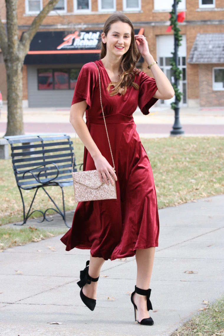 Fit & Flare Burgundy Velvet Dress