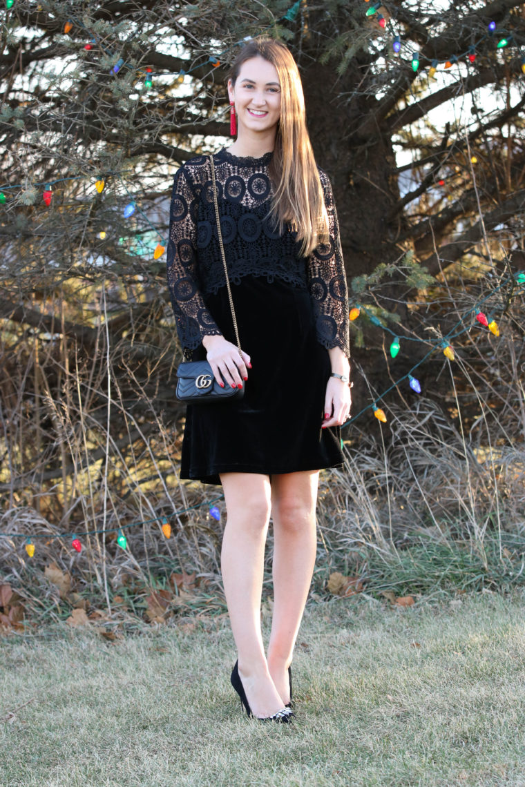 Black Velvet Crochet Dress