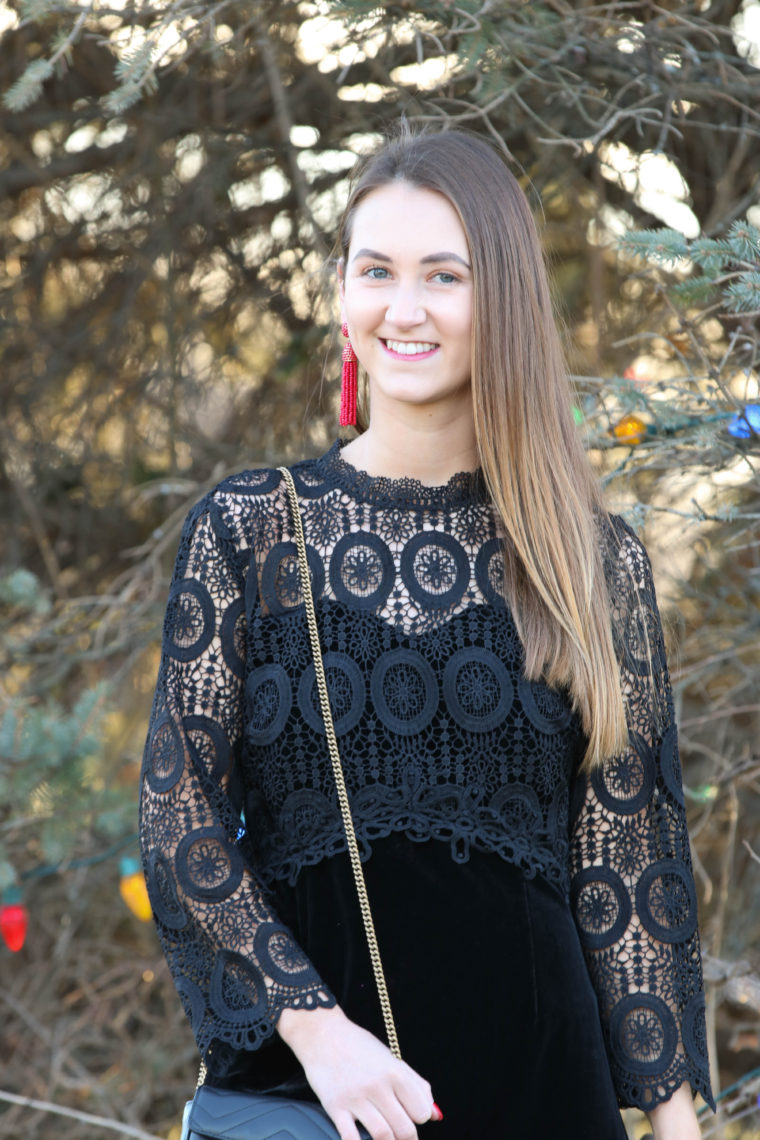 for the love of glitter, crochet dress, NYE dress, holiday style