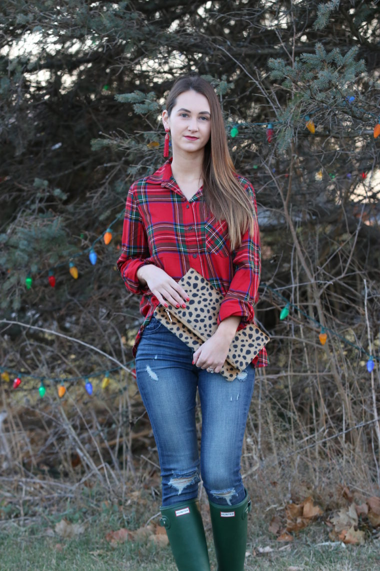 for the love of glitter, leopard clutch, plaid long sleeve