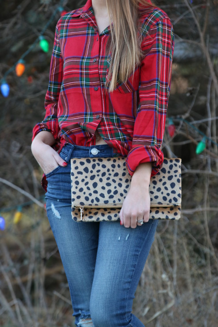 for the love of glitter, plaid top, holiday style
