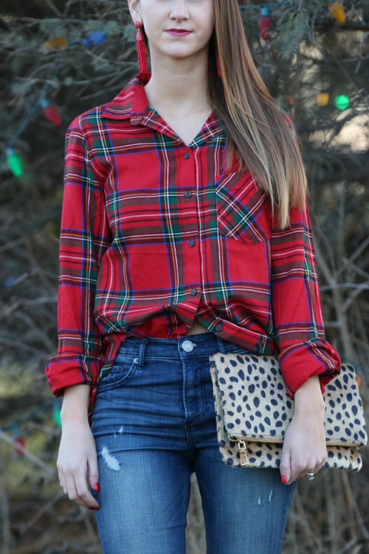 Christmas plaid, leopard clutch, holiday style