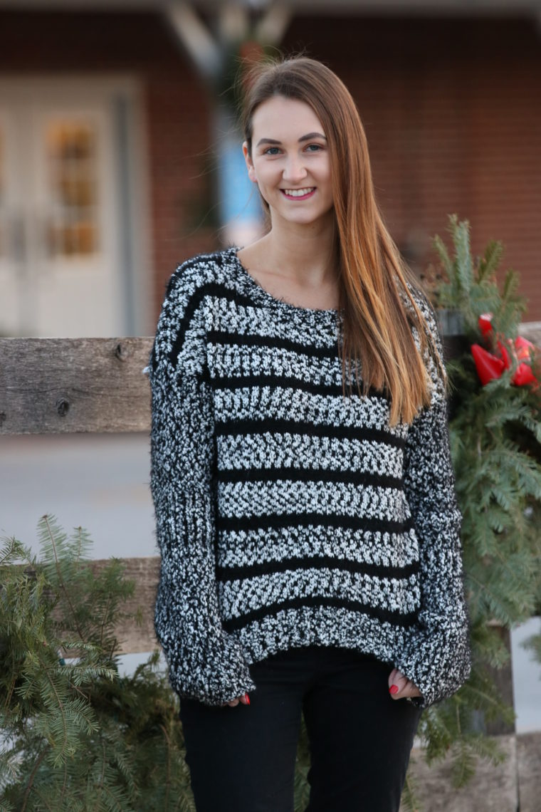 for the love of glitter, black and white sweater, winter style