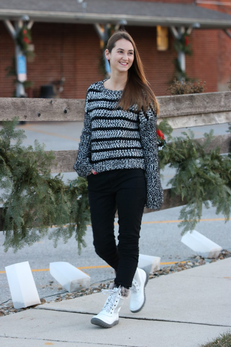 for the love of glitter, white snow boots, fuzzy sweater, crewneck sweater, winter style