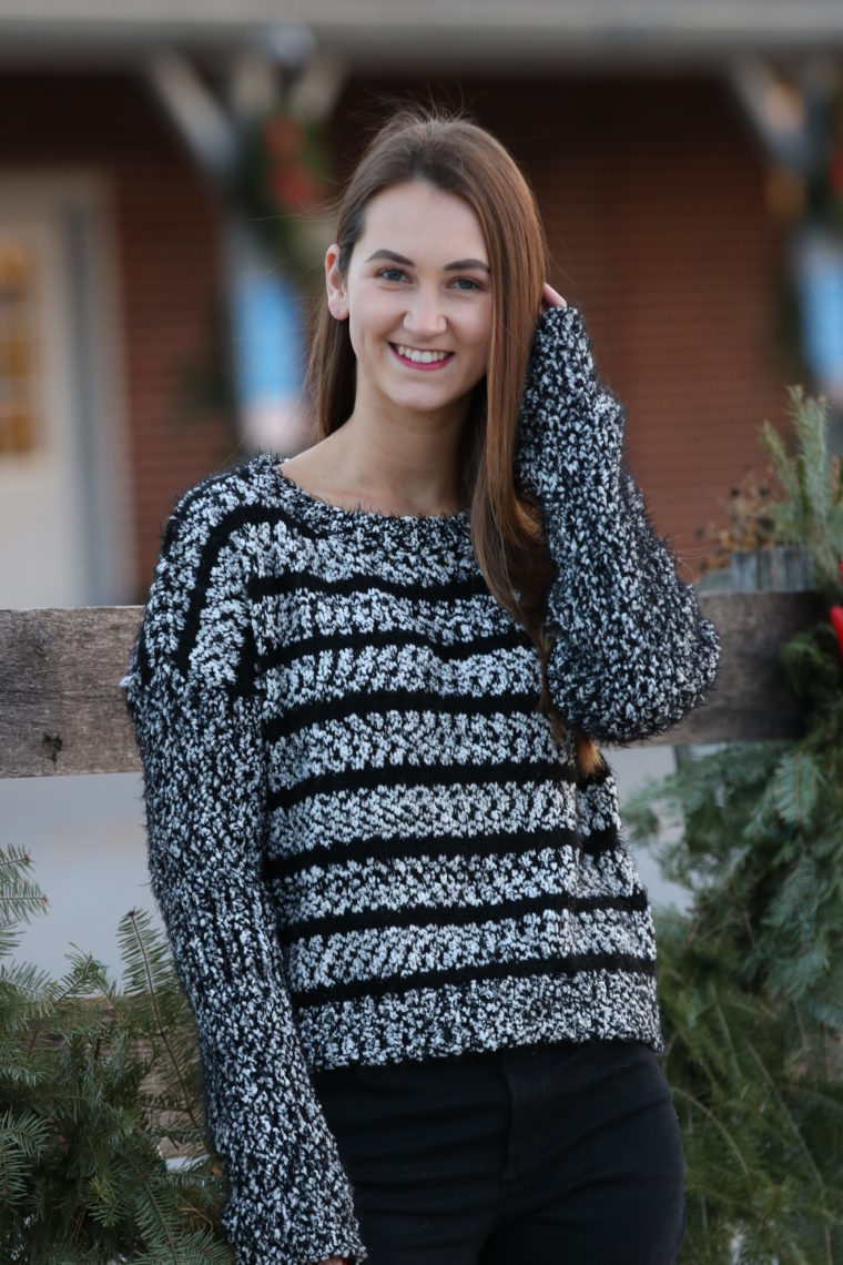 Fuzzy Striped Crewneck Sweater