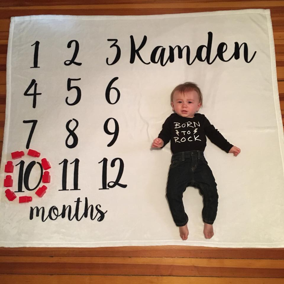 10 months old, month by month photo, month blanket, for the love of glitter