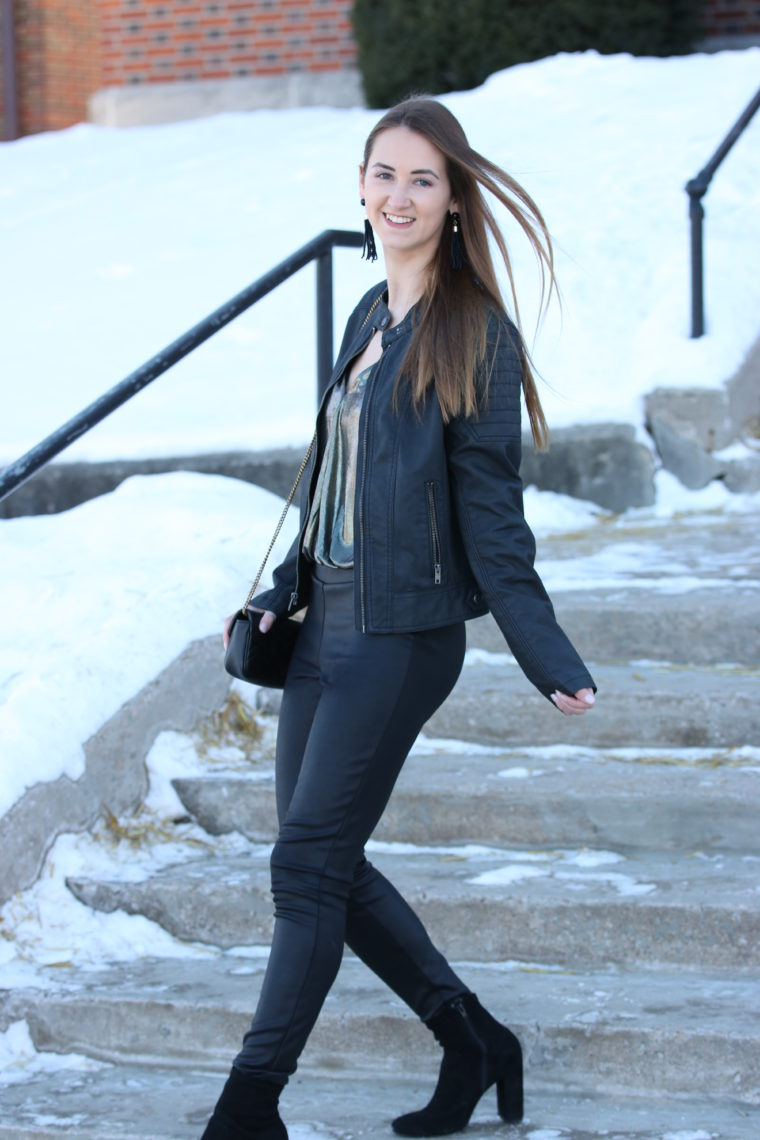 black faux leggings, black moto jacket, NYE outfit, for the love of glitter