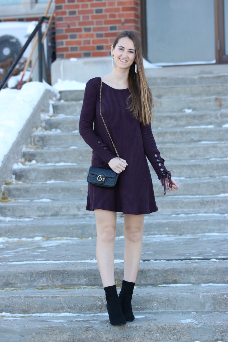 Dark Purple Lace-Up Sleeve Dress