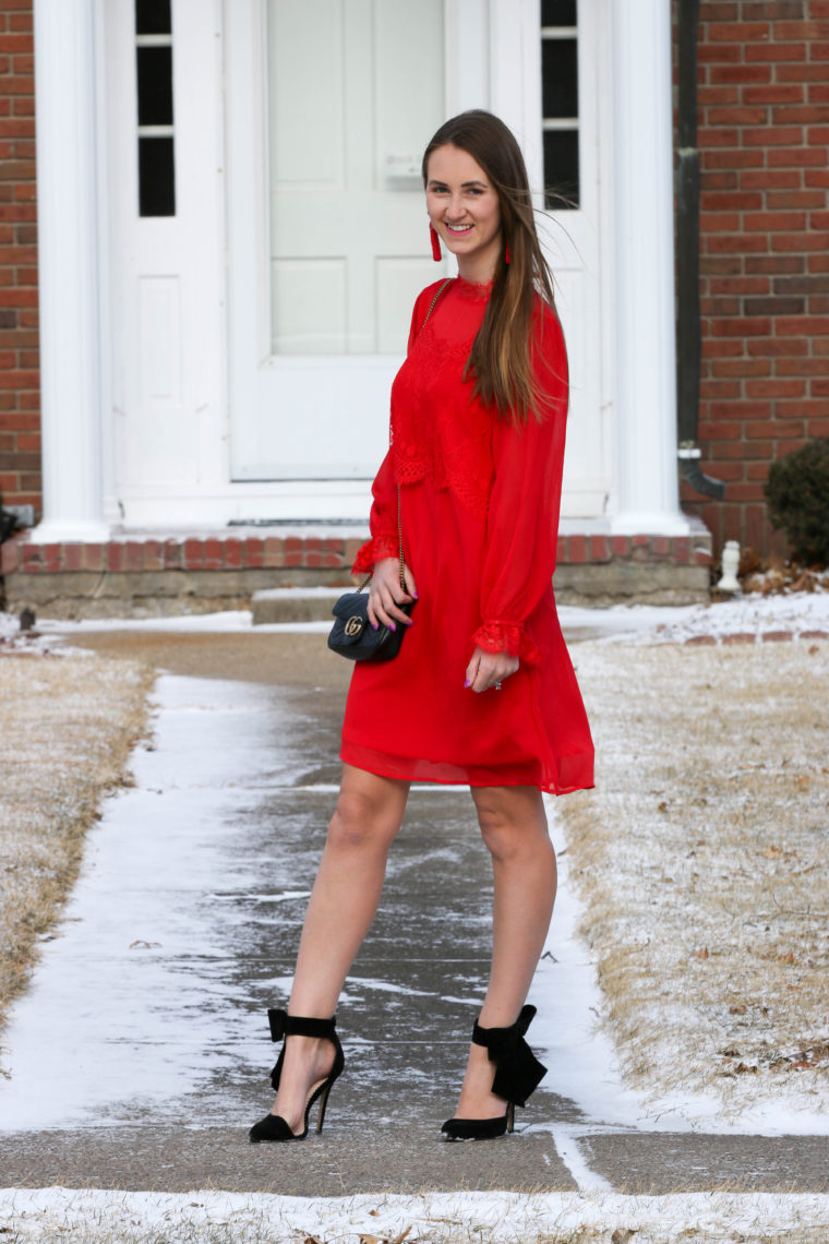 Red High-Neck Lace Dress