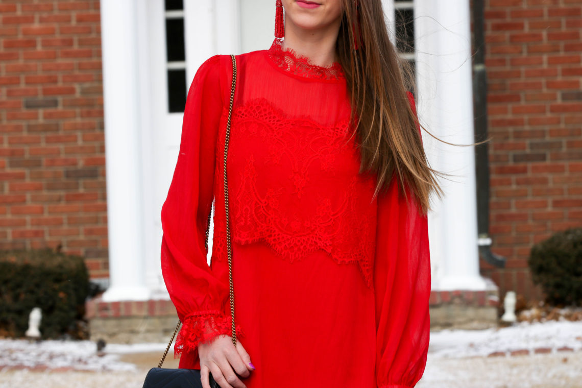 red lace dress. Valentine's Day dress. date night look