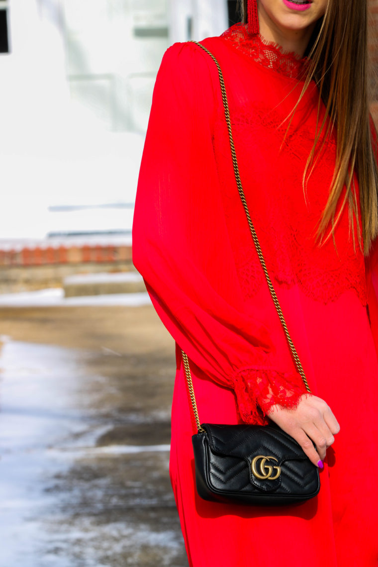 red lace dress, black Gucci bag, date night look