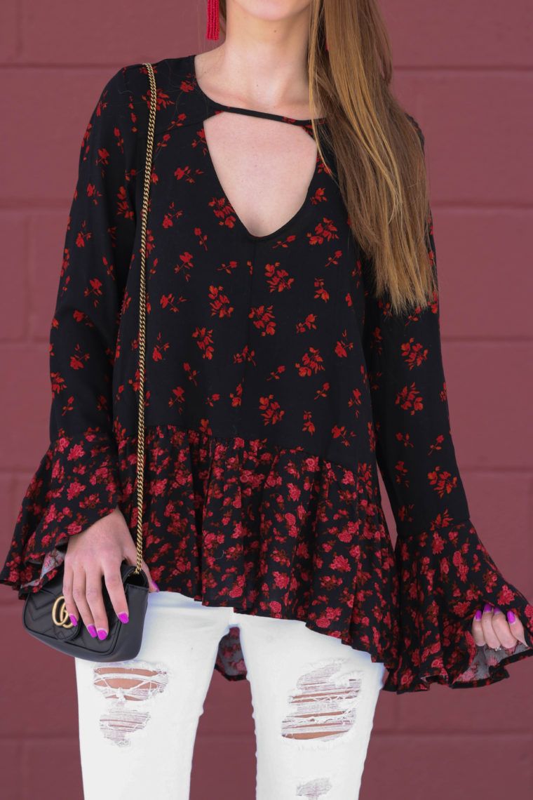 bell sleeve blouse, peplum top, Valentine's Day outfit