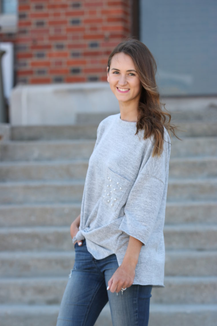 Tie Front Pullover With Pearl Pocket