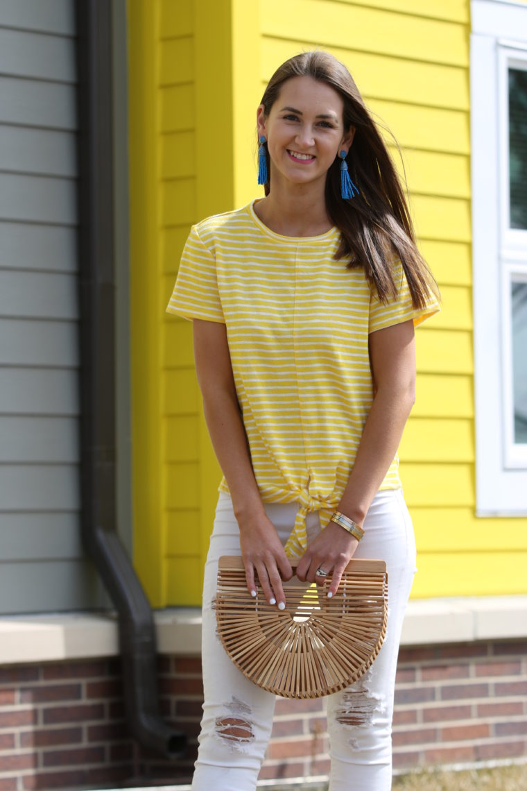 Yellow & White Striped Tie-Front Shirt