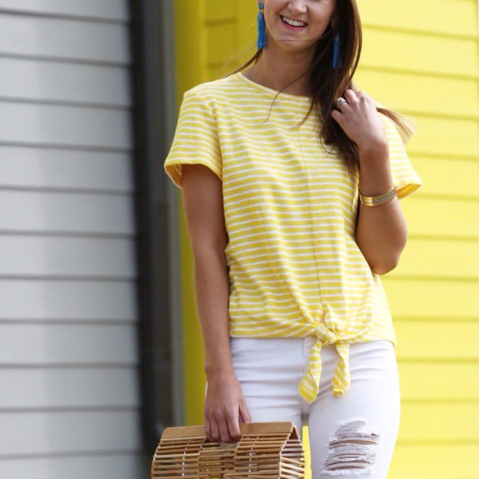 tie front tee, spring style. Cult Gaia bag