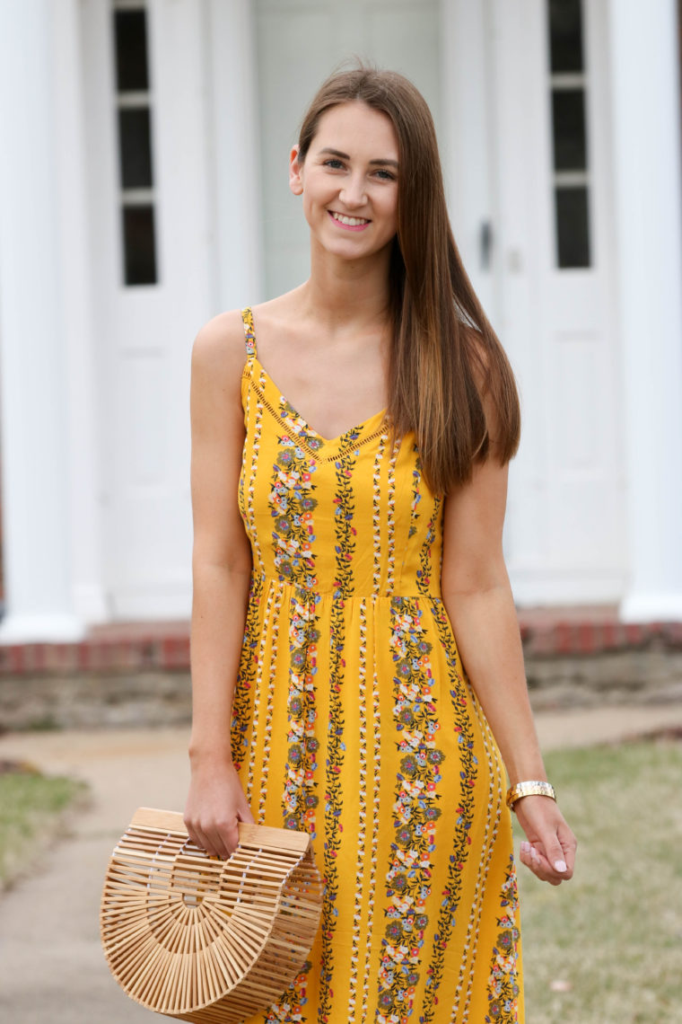 636a5923e411 Fit   Flare Yellow Floral Cami Midi Dress - For The Love Of Glitter