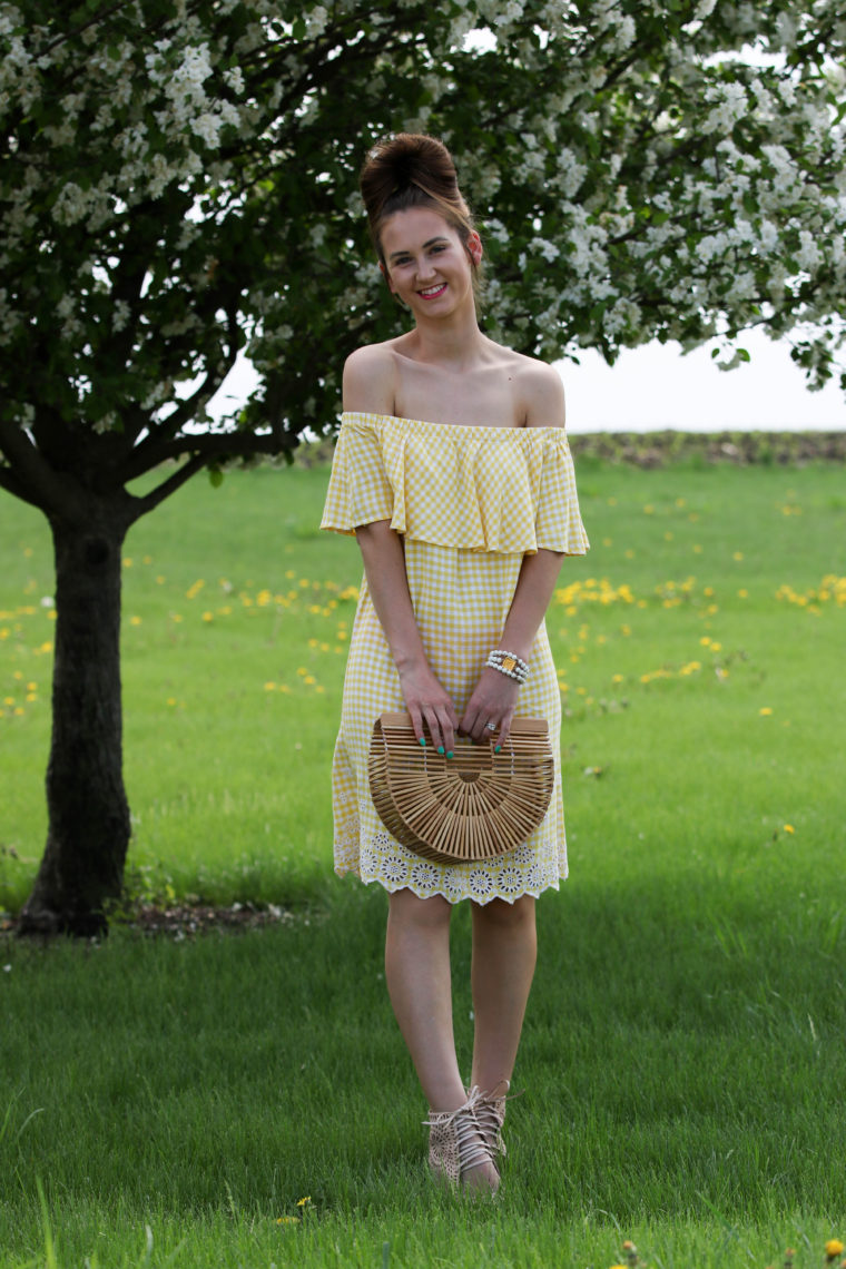 Yellow Gingham Off The Shoulder Dress