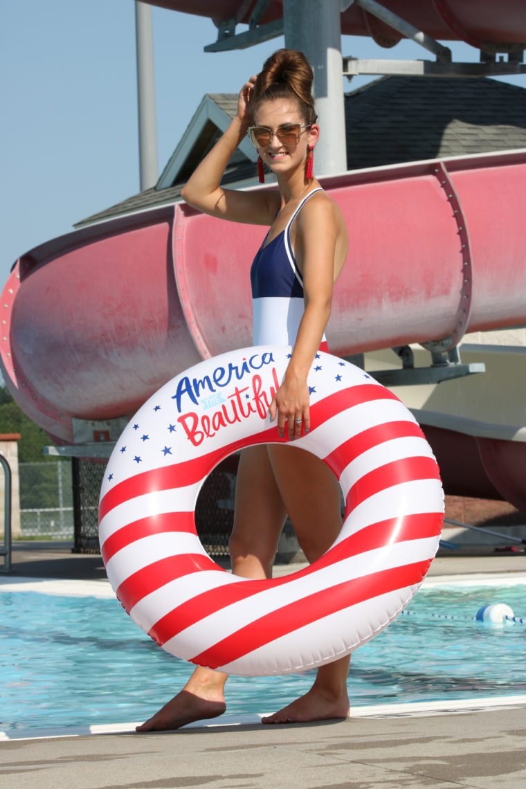 America the beautiful pool float, 4th of July one piece