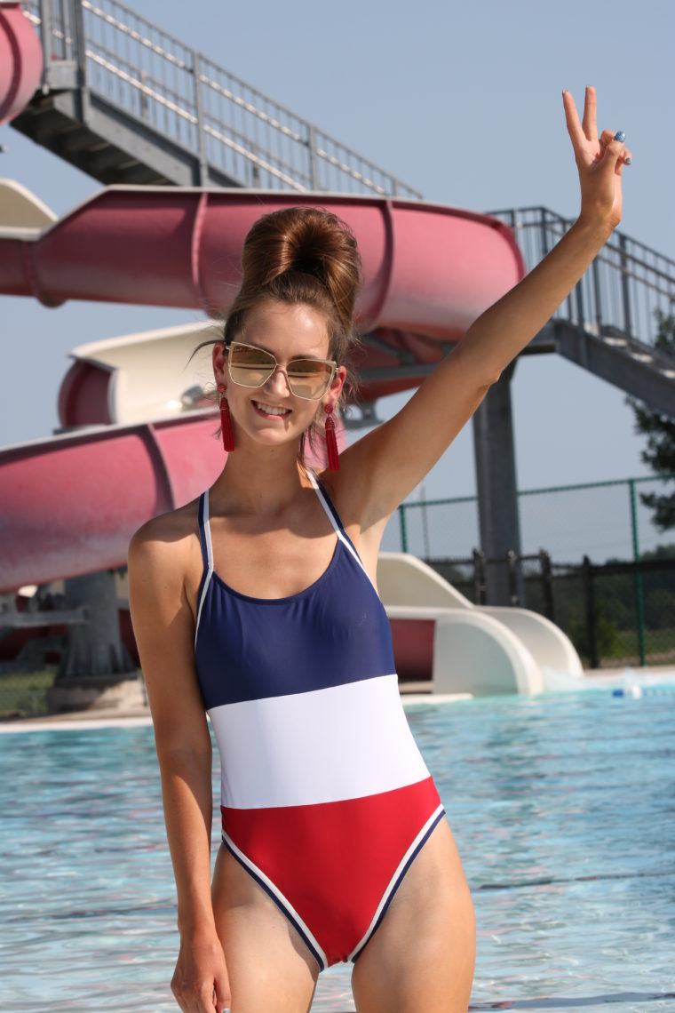 colorblock swimsuit, 4th of July one piece swimsuit
