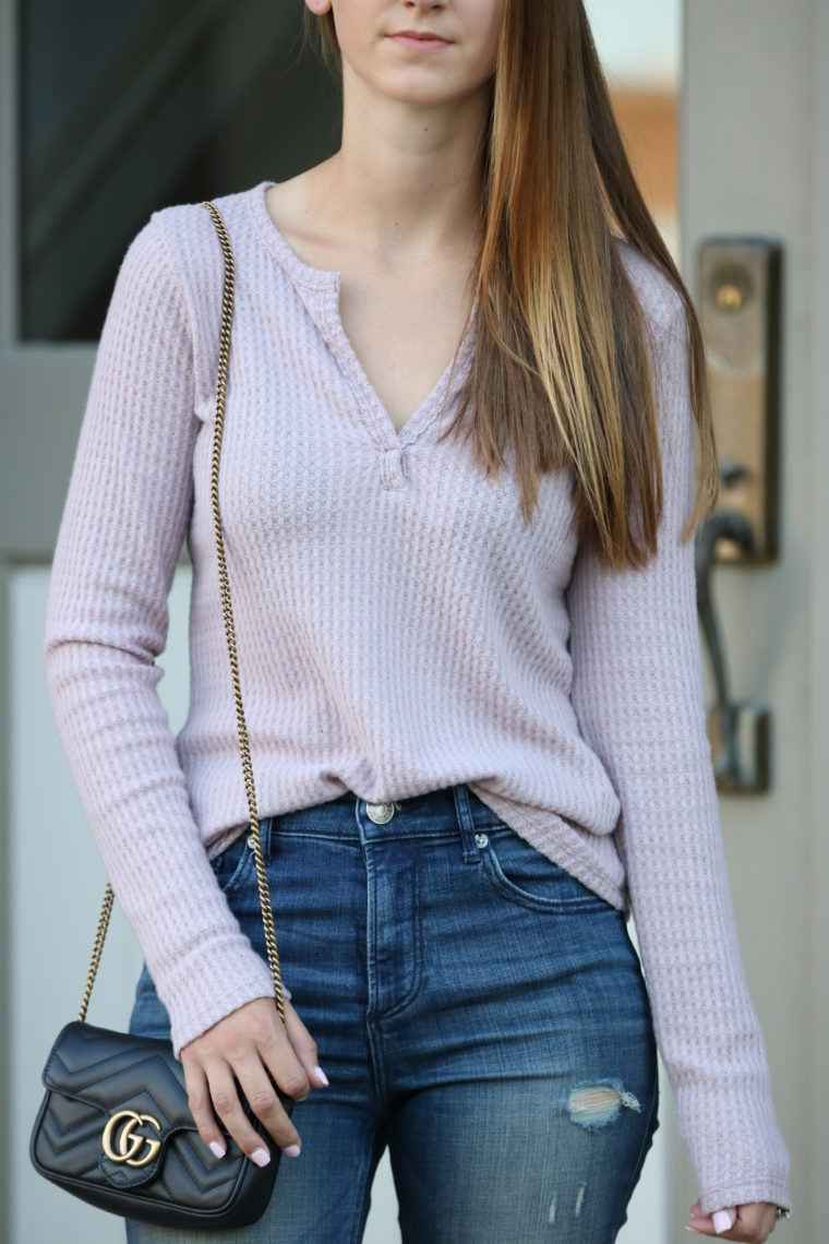 thermal henley, Gucci bag, fall style, Nordstrom Anniversary sale