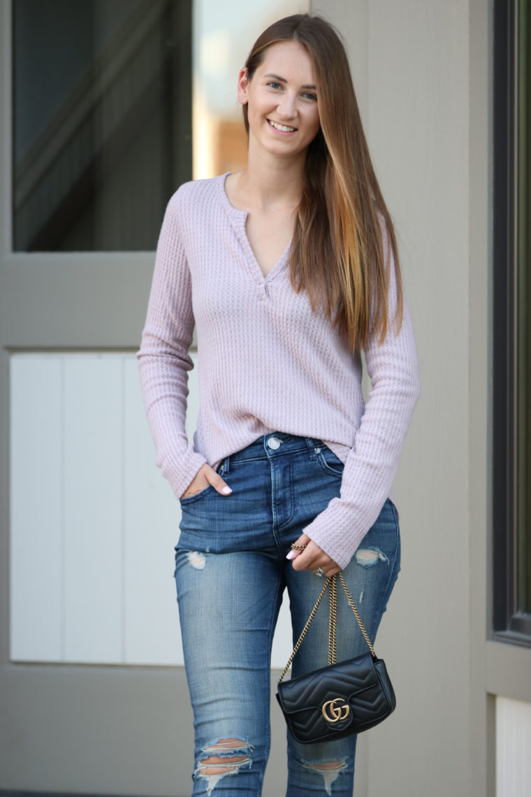 thermal henley top, Gucci bag, fall style