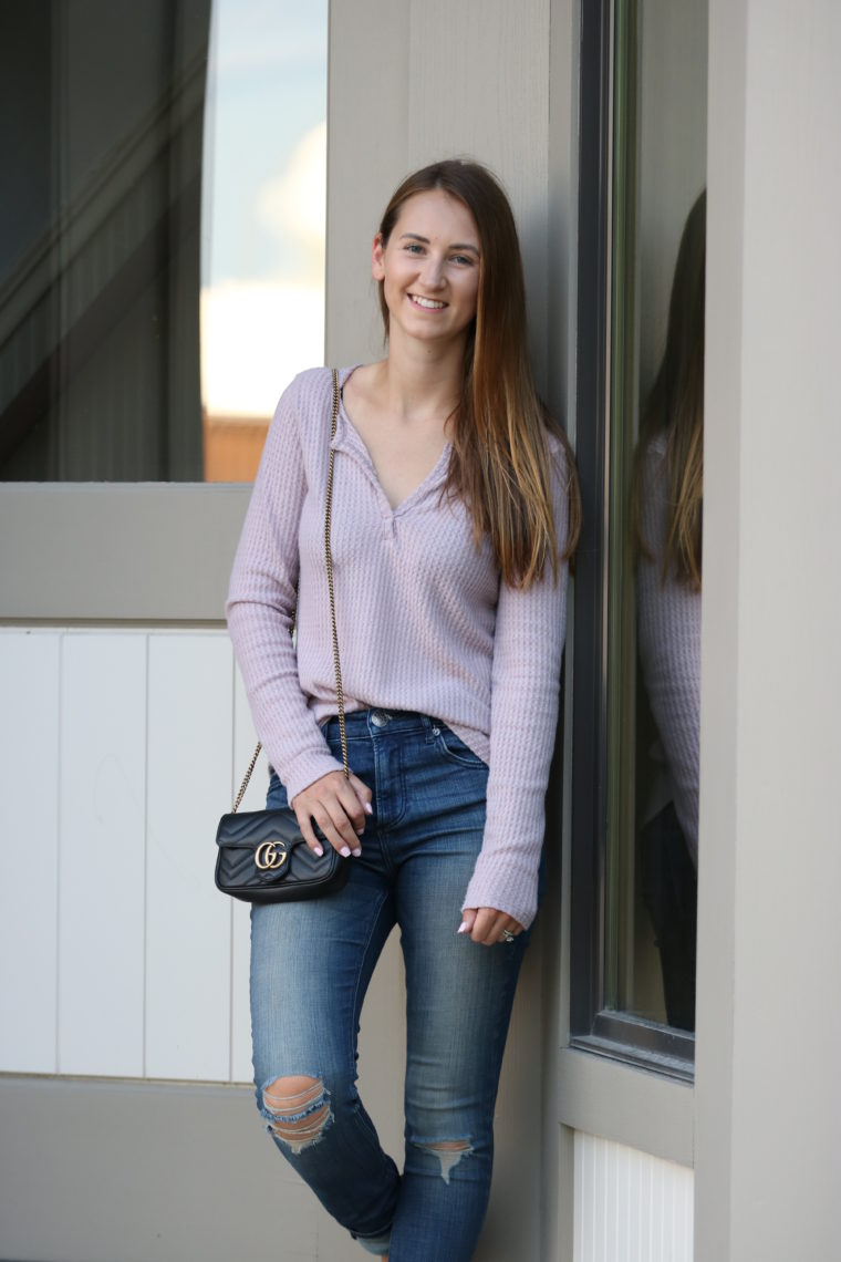 thermal henley, Gucci bag, fall style