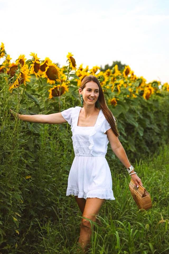 sunflower field, sunflowers, white ruffle romper