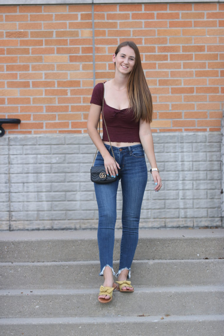 ribbed top, crop top, burgundy top