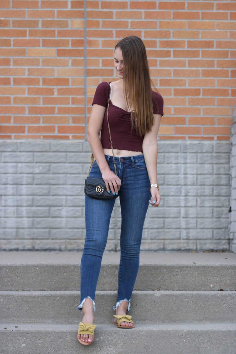crop top, bow sandals. date night outfit
