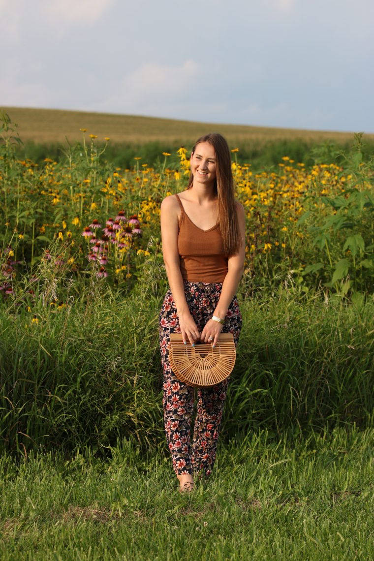 floral jogger pants, basket bag, summer style, wildflower field