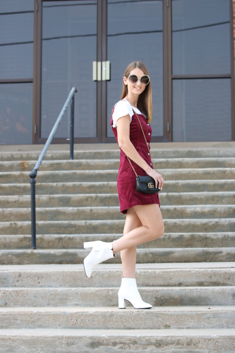 corduroy overall dress, white booties, Gucci bag, fall style